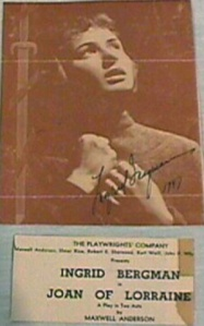 Original 1946 playbill for Joan of Lorraine by Maxwell Anderson starring Ingrid Bergman