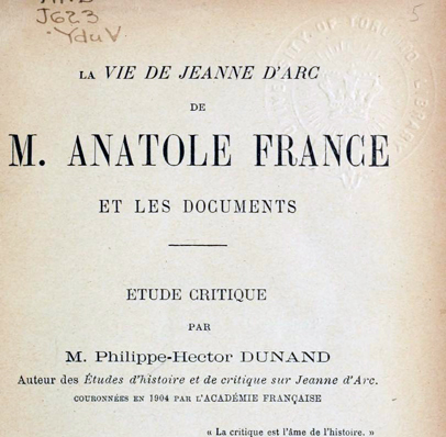 "Title page from original 1908 publication of Nobel prize winner Anatole France's book ""The Life of Joan of Arc"""