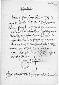Original of Joan's letter to the Parisians