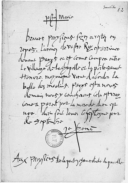 Original of Joan's letter to the Parisians
