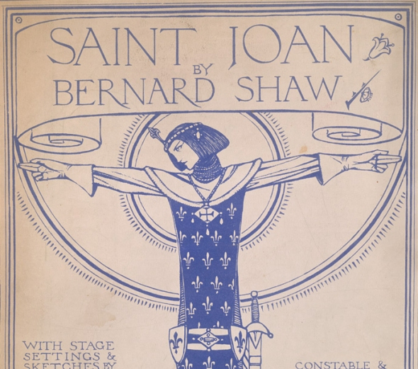 "Original 1928 art deco cover of the script for George Bernard Shaw's classic play ""Saint Joan"""