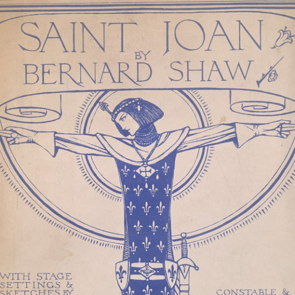 "Original 1928 art deco cover of the script for George Bernard Shaw's classic play ""Saint Joan"""